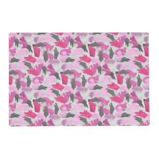 Silhouette Animal Camouflage Pink Laminated Placemat