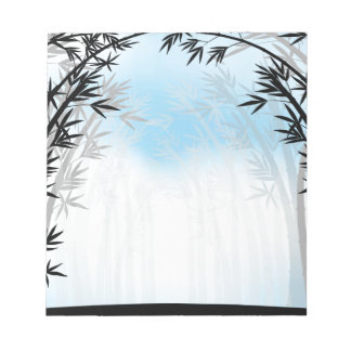 Silhouette bamboo jungle with fog note pads