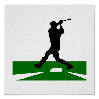Silhouette Baseball Swing Poster