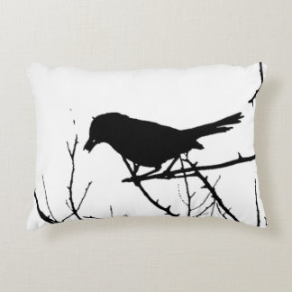 Silhouette Black and White Catbird on Bare Branch Accent Pillow