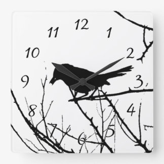Silhouette Black and White Catbird on Bare Branch Wallclock