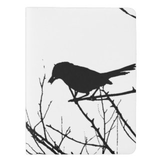 Silhouette Black and White Catbird on Bare Branch Extra Large Moleskine Notebook