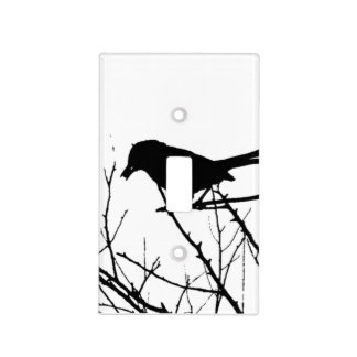 Silhouette Black and White Catbird on Bare Branch Switch Plate Covers