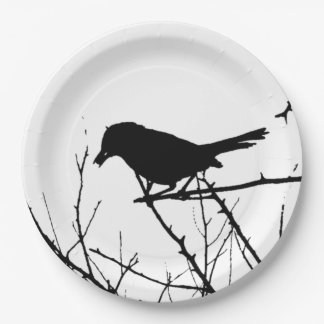 Silhouette Black and White Catbird on Bare Branch Paper Plate