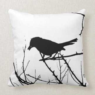 Silhouette Black and White Catbird on Bare Branch Pillows