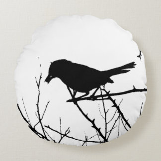 Silhouette Black and White Catbird on Bare Branch Round Pillow