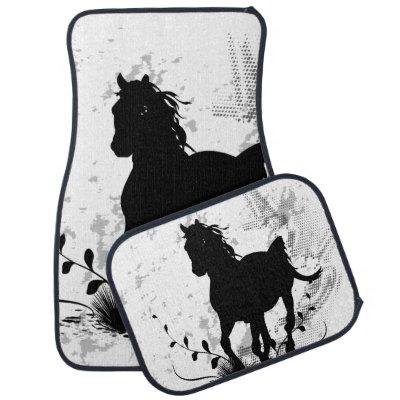 Silhouette, black horse floor mat