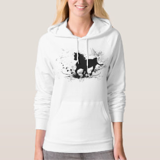 Silhouette, black horse hooded pullover