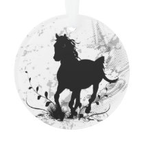 Silhouette, black horse ornament