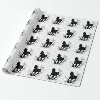 Silhouette, black horse wrapping paper