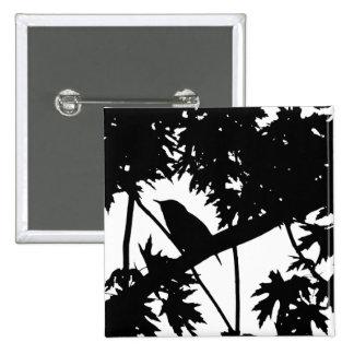 Silhouette Black & White house Wren in Maple Tree 2 Inch Square Button