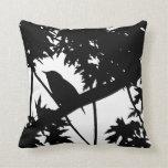 Silhouette Black & White house Wren in Maple Tree Throw Pillow
