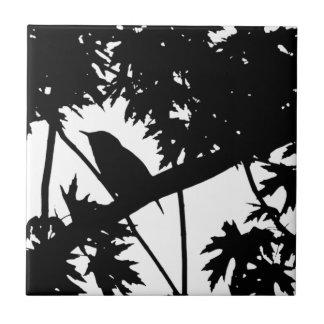 Silhouette Black & White house Wren in Maple Tree Ceramic Tiles