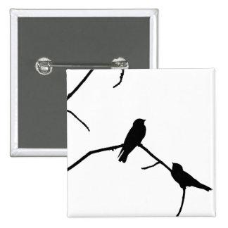 Silhouette Black & White Swallow Pair Button