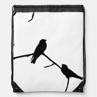 Silhouette Black & White Swallow Pair Drawstring Bag