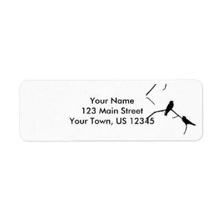 Silhouette Black & White Swallow Pair Return Address Label