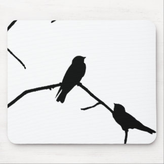 Silhouette Black & White Swallow Pair Mouse Pads