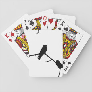 Silhouette Black & White Swallow Pair Poker Cards