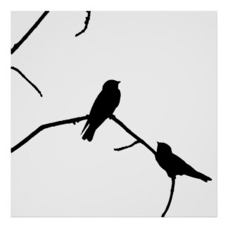 Silhouette Black & White Swallow Pair Print