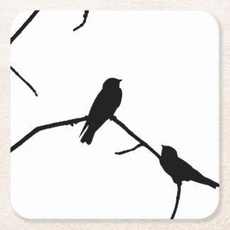 Silhouette Black & White Swallow Pair Square Paper Coaster