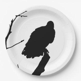 Silhouette Black & White Vulture Bird of Prey 9 Inch Paper Plate