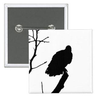 Silhouette Black & White Vulture Bird of Prey Button