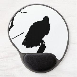 Silhouette Black & White Vulture Bird of Prey Gel Mousepads