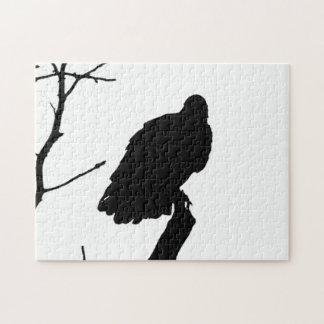 Silhouette Black & White Vulture Bird of Prey Jigsaw Puzzles
