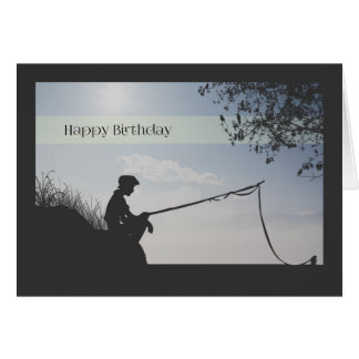 Silhouette Boy Fishing Birthday Card