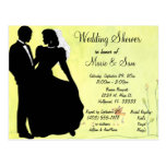 Silhouette Bride And Groom Spring Background Post Cards