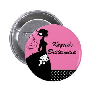 Silhouette Bride Bridal Party Bridesmaid Button