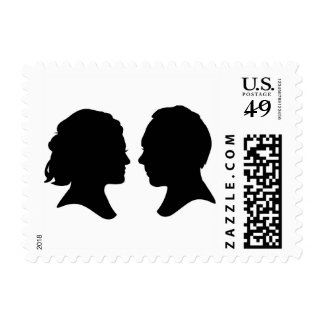Silhouette Bride & Groom Wedding Postage Stamp