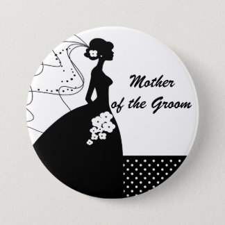 Silhouette Bride Mother of the Groom Button / Pin