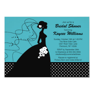 Silhouette Bride Turquoise Bridal Shower Invite