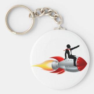 Silhouette Businessman Rocket Basic Round Button Keychain