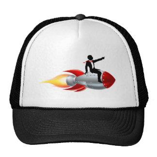 Silhouette Businessman Rocket Trucker Hat
