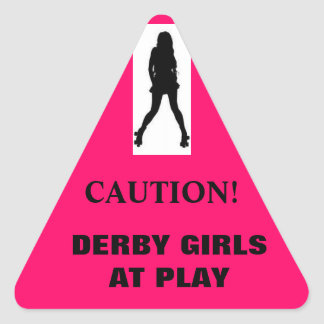 Silhouette, CAUTION!, DERBY GIRLS AT PLAY Triangle Sticker