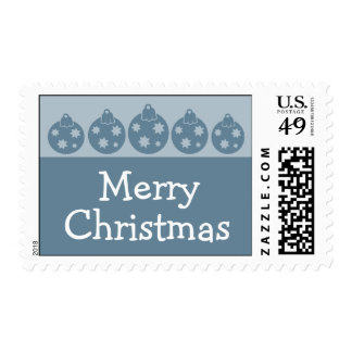Silhouette Christmas Ornaments Postage (Blue Gray)