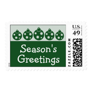 Silhouette Christmas Ornaments Postage (Evergreen)