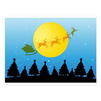 Silhouette Christmas tree and Santa Postcard