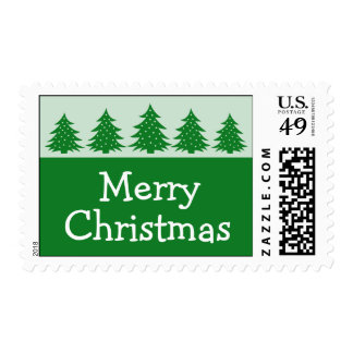 Silhouette Christmas Trees Postage (Green)