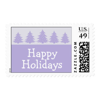 Silhouette Christmas Trees Postage (Violet Purple)