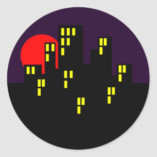 Silhouette city town center town classic round sticker