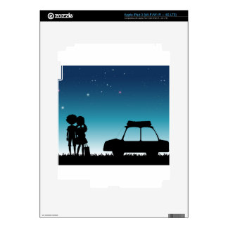 Silhouette couple at night time iPad 3 skin
