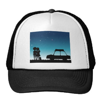 Silhouette couple at night time trucker hat