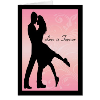 Silhouette Couple Embracing for this Love Card