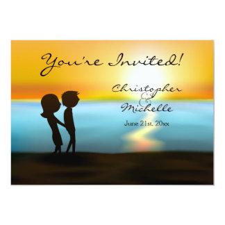 Silhouette Couple Sunset Beach Wedding Invitation