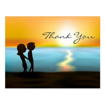 Silhouette Couple Sunset ~ Sunrise Beach Thank You Postcard