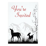 """Silhouette Deer and Mountains Baby Shower Invite 5"""" X 7"""" Invitation Card"""