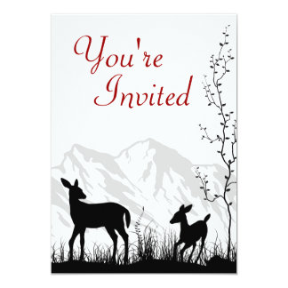 Silhouette Deer and Mountains Baby Shower Invite